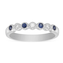 14K_White_Gold_Round_Sapphire_&__Diamond_Bezel_Set_Milgrain_Ring