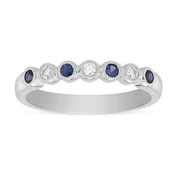 14K White Gold Round Sapphire &  Diamond Bezel Set Milgrain Ring