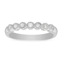 14K_White_Gold_Round_White_Sapphire_&_Diamond_Bezel_Set_Milgrain_Ring