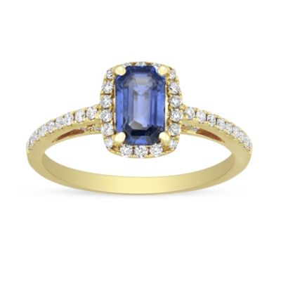 18K Yellow Gold Emerald Cut Sapphire and Diamond Halo Ring