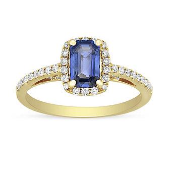 18K Yellow Gold Emerald Cut Sapphire and Diamond Halo Ring