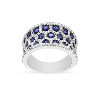 14k white gold sapphire & diamond honeycomb 3 row ring