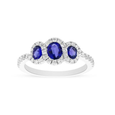 14k white gold sapphire 3 stone ring with diamond halo & shank