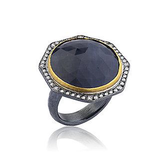 lika behar 24k yellow gold & oxidized sterling silver rose cut sapphire & diamond ring