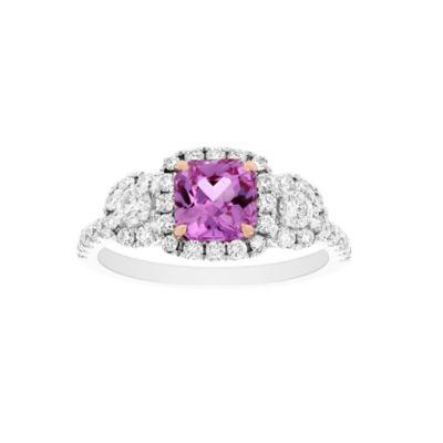 18k white gold cushion pink sapphire & diamond 3 stone ring
