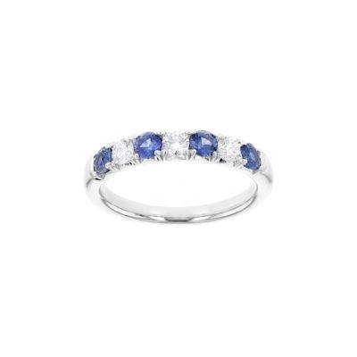 18k white gold round sapphire & diamond alternating ring
