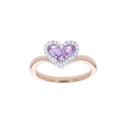 18k rose & white gold pink sapphire heart & diamond halo ring