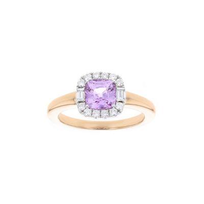 18k rose & white gold cushion pink sapphire & diamond halo ring