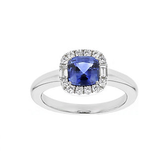 18k white gold cushion sapphire & diamond halo ring