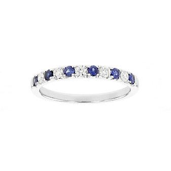 18k white gold sapphire & diamond alternating ring