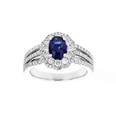 14k white gold oval sapphire & diamond double scalloped halo ring with 3 row shank