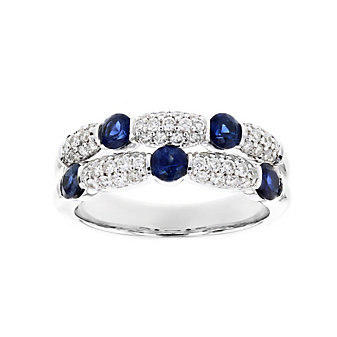 14k white gold round sapphire & diamond 2 row station ring