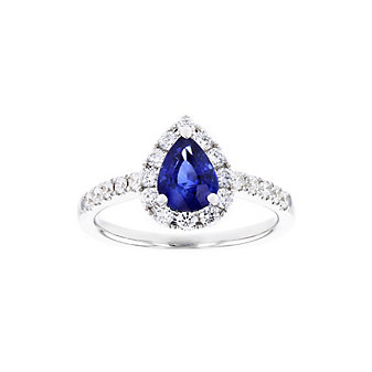 14k white gold pear shaped sapphire & diamond halo ring