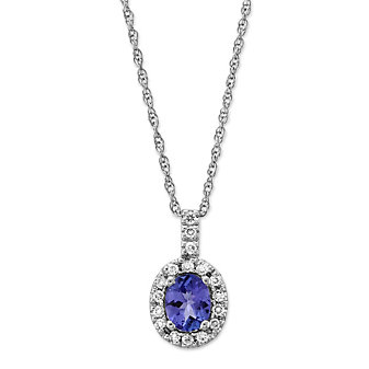 14K White Gold Oval Taznanite and Round Diamond Pendant
