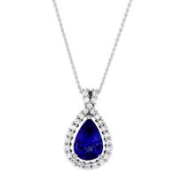 18K_White_Gold_Pear_Shape_Tanzanite_and_Round_Diamond_Pendant