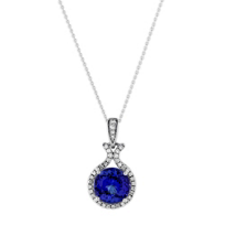 18K_White_Gold_Round_Tanzanite_and_Round_Diamond_Halo_Pendant,_16""