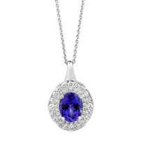 18K_White_Gold_Oval_Tanzanite_and_Diamond_Double_Halo_Pendant,_17""