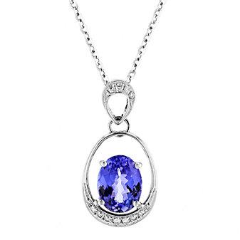 "tara 18k white gold oval tanzanite & diamond dangle pendant, 18"""