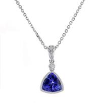 "14k_white_gold_checkerboard_trillion_tanzanite_&_diamond_milgrain_bezel_pendant,_18"""