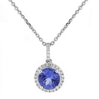 """14k_white_gold_round_tanzanite_&_diamond_halo_pendant,_18"""""""