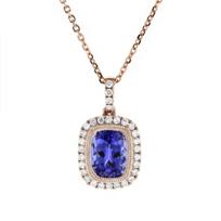 "14k_rose_gold_cushion_tanzanite_&_diamond_milgrain_frame_pendant,_18"""