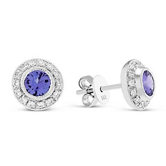 18K Tanzanite and Diamond Earrings