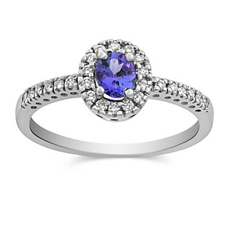 14K White Gold Oval Tanzanite and Round Diamond Ring
