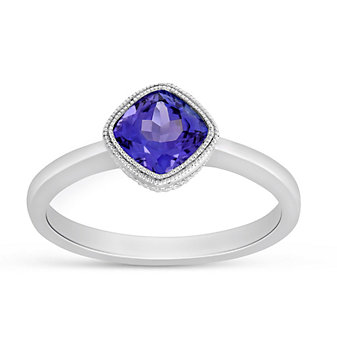 14K White Gold Cushion Tanzanite Ring
