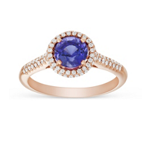 14K_Rose_Gold_Round_Tanzanite_and_Round_Diamond_Halo_Ring