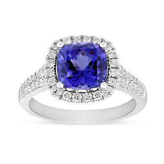 14K White Gold Cushion Tanzanite and Round Diamond Halo Ring