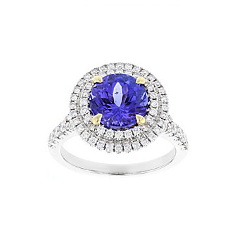 18k white gold round tanzanite ring with diamond double halo & shank