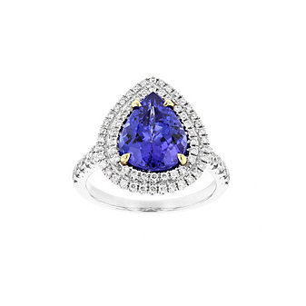 18k white gold pear shaped tanzanite ring with diamond double halo & shank