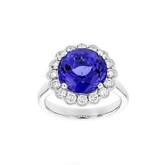 18k white gold round tanzanite & diamond milgrain scalloped halo ring