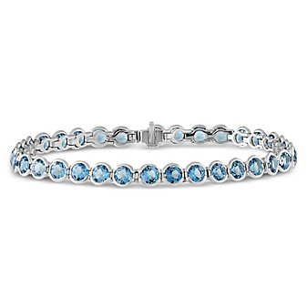 14K White Gold Blue Topaz Bezel Set Bracelet