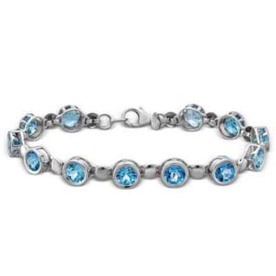 "Sterling Silver Blue Topaz Bracelet, 7"""