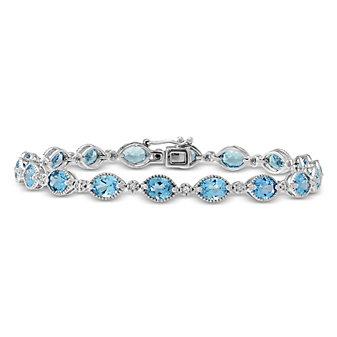 14K White Gold Oval Blue Topaz and Round Diamond Bracelet