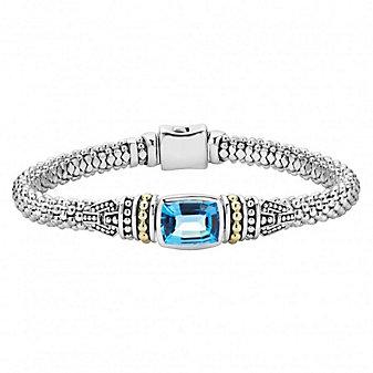 Lagos Blue Sterling Silver & 18K Yellow Gold Blue Topaz Caviar Bracelet