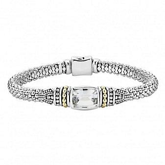 Lagos Sterling Silver & 18K Yellow Gold White Topaz Caviar Bracelet