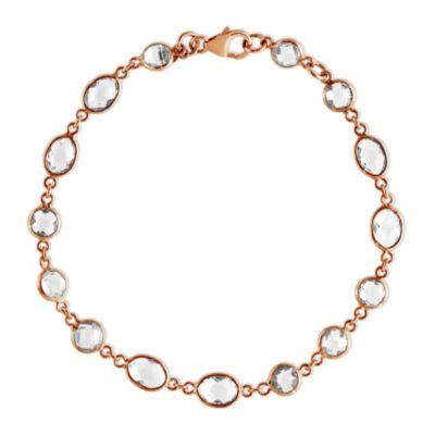 "Sterling Silver & Rose Tone White Topaz Bracelet, 7.25"""