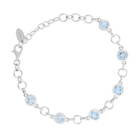 "Sterling_Silver_Round_Blue_Topaz_Circle_Link_Bracelet,_9"""