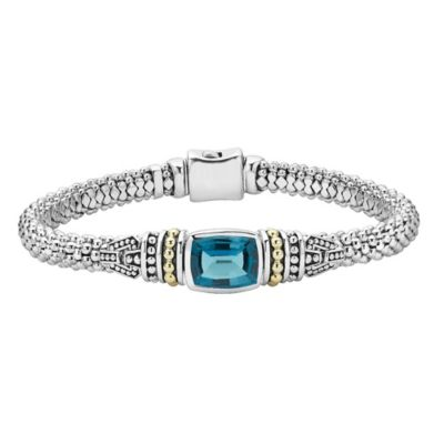 Lagos Caviar Color Blue Topaz, Sterling Silver, and 18K Yellow Gold Bracelet