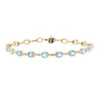 """14k_yellow_gold_oval_blue_topaz_infinity_link_bracelet,_7.5"""""""