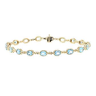 """14k yellow gold oval blue topaz infinity link bracelet, 7.5"""""""