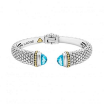 lagos_sterling_silver_&_18k_yellow_gold_caviar_color_blue_topaz_hinge_cuff_bracelet