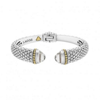 lagos_sterling_silver_&_18k_yellow_gold_caviar_color_white_topaz_hinge_cuff_bracelet