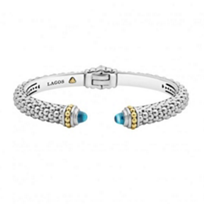 lagos_sterling_silver_&_18k_yellow_gold_caviar_color_blue_topaz_thin_hinge_cuff_bracelet
