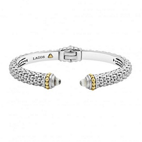 lagos_sterling_silver_&_18k_yellow_gold_caviar_color_white_topaz_thin_hinge_cuff_bracelet