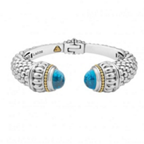 lagos_sterling_silver_&_18k_yellow_gold_caviar_color_blue_topaz_wide_hinge_cuff_bracelet