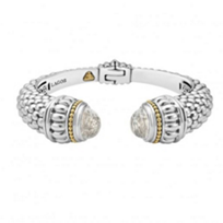 lagos_sterling_silver_&_18k_yellow_gold_caviar_color_wide_white_topaz_hinge_cuff_bracelet