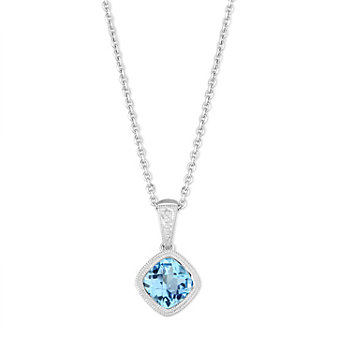 14K White Gold Checkerboard Blue Topaz Pendant